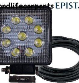 secondlifecarparts Werklamp 27 watt vierkant E-keur extra dun met 4m aansluitkabel