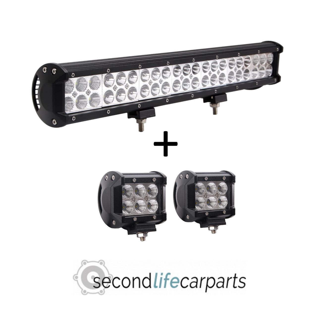 126w combo beam light bar + 2x 18w breedstraler
