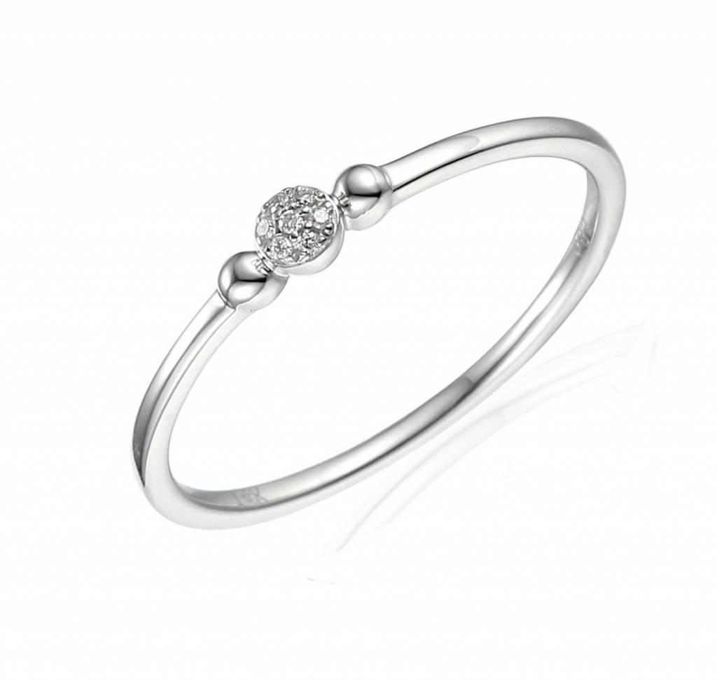 Private Label CvdK Private Label CvdK 14 kt. witgouden rozet ring met diamant
