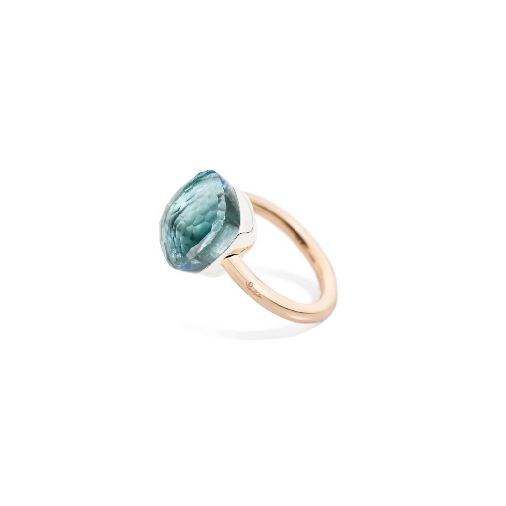 Pomellato Pomellato 18 kt. roségouden Nudo Maxi ring met blauwe topaas