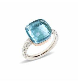 Pomellato Nudo Maxi ring met sky blue topaas en diamanten