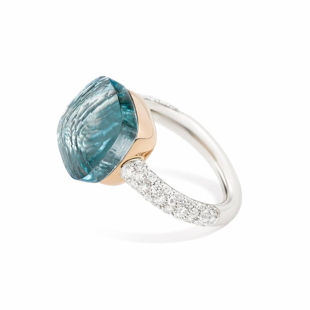 Pomellato Pomellato 18 kt. witgouden Nudo Maxi ring met blauwe topaas en diamant
