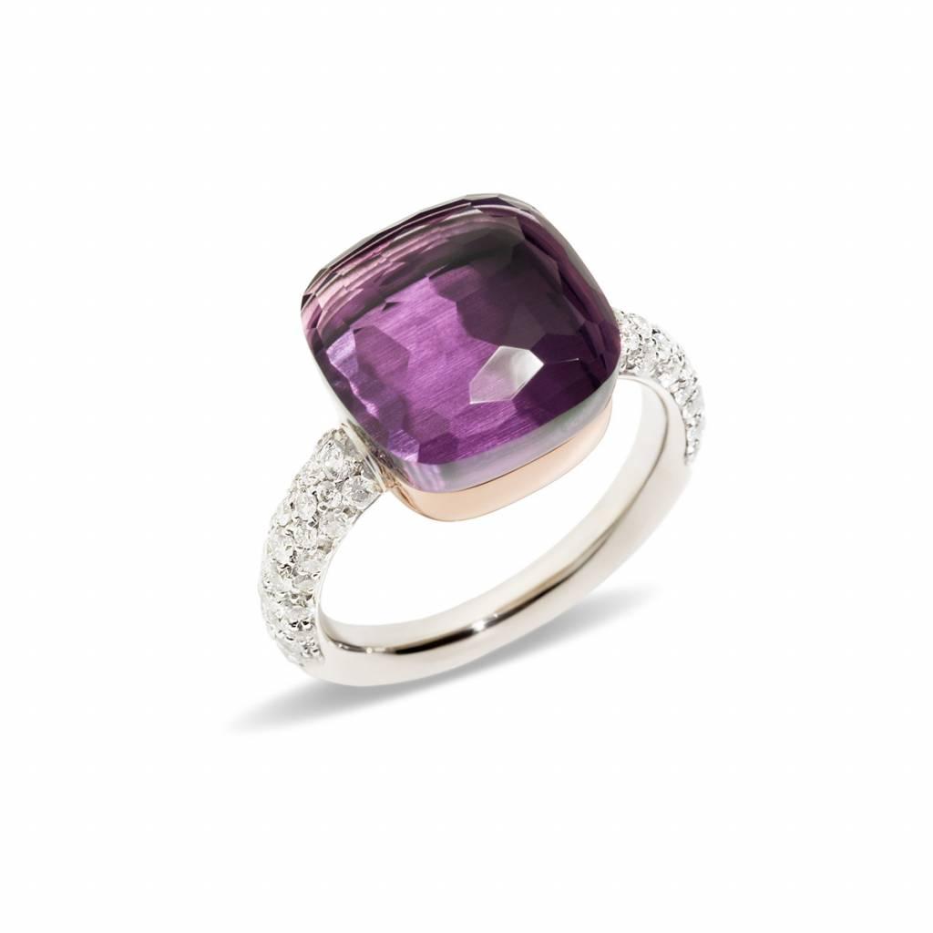 Pomellato Pomellato 18 kt. witgouden Nudo Maxi ring met amethist en diamant