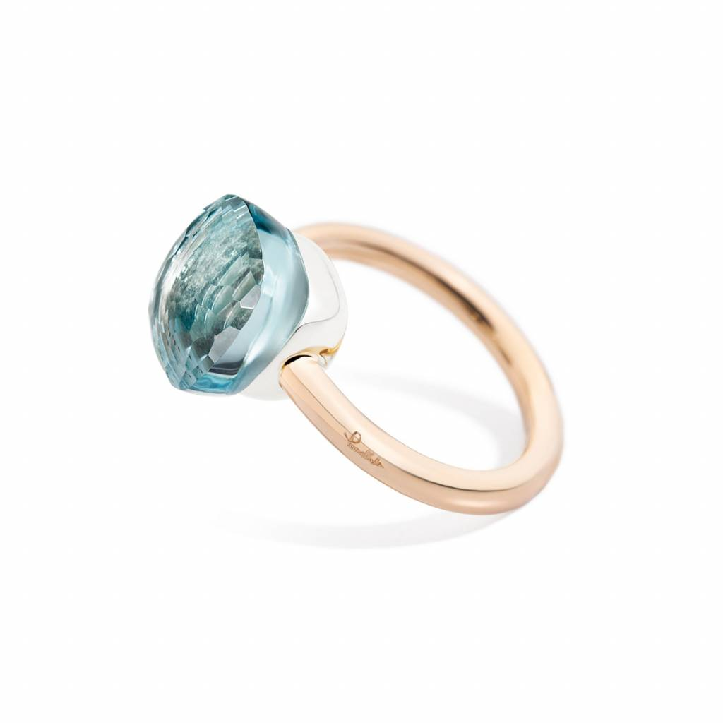 Pomellato Pomellato 18 kt. roségouden Nudo Classic ring met blauwe topaas