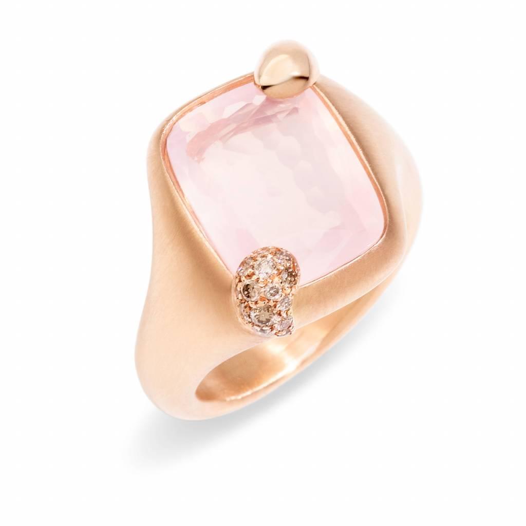 Pomellato Pomellato 18 kt. Ritratto ring met roze kwarts en cognac diamant 0.15 ct.
