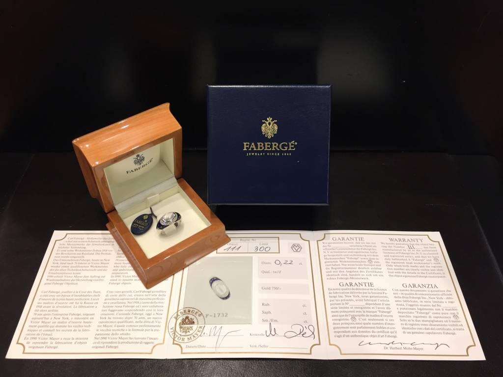 Fabergé Fabergé 18 kt. witgouden ring met blauw emaille, maansteen en diamant