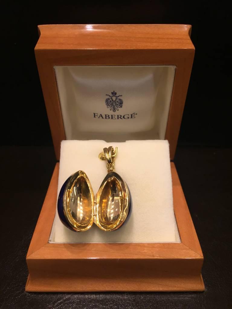 Fabergé Fabergé 18 kt. gouden ei hanger met blauw emaille medaillon uitvoering
