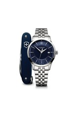 Victorinox Victorinox Alliance Quartz 40mm, Blauwe wijzerplaat met edelstalen band inclusief Swiss Army Knife