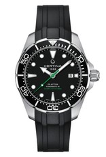 Certina Certina DS Action Diver Powermatic 80, 43mm edelstalen kast met rubber band, zwarte wijzerplaat en datumvenster.