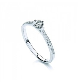 Private Label CvdK Solitair ring 18 kt. witgoud met briljanten samen 0,16 ct.