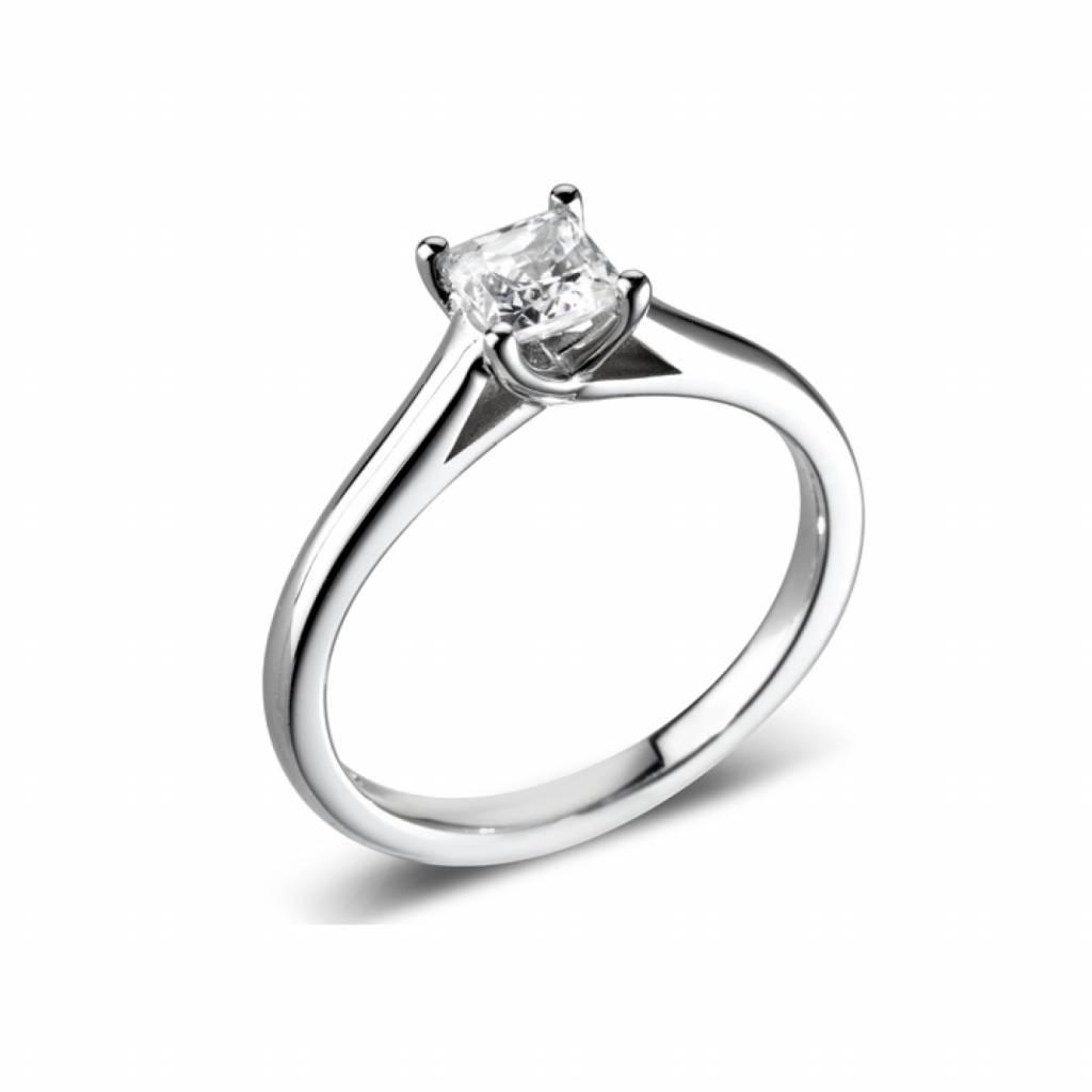 Private Label CvdK Solitair ring witgoud 18 krt. met een briljant van 0,32 ct. River(E)/VSI