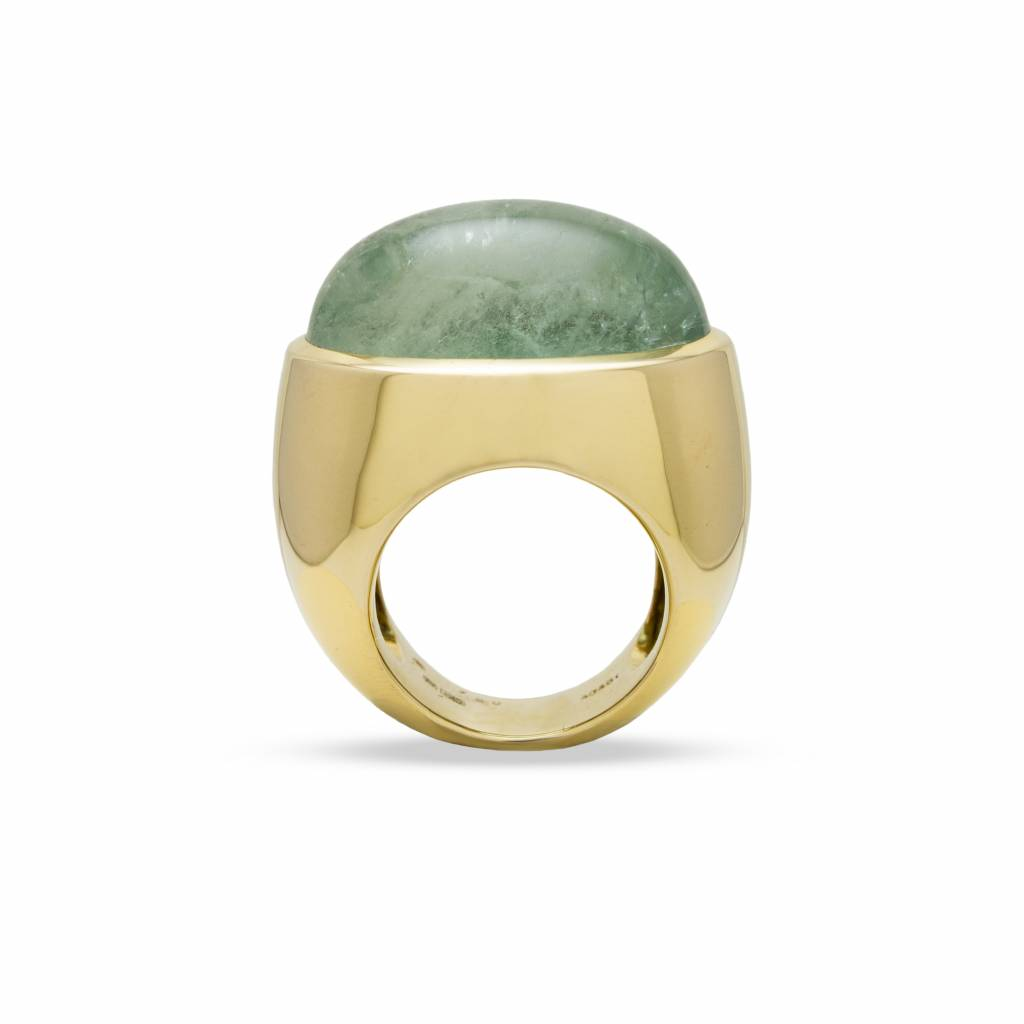 Private Label CvdK Private Label CvdK 18 kt. gouden ring met cabouchon geslepen groene beryl  40.45 ct.