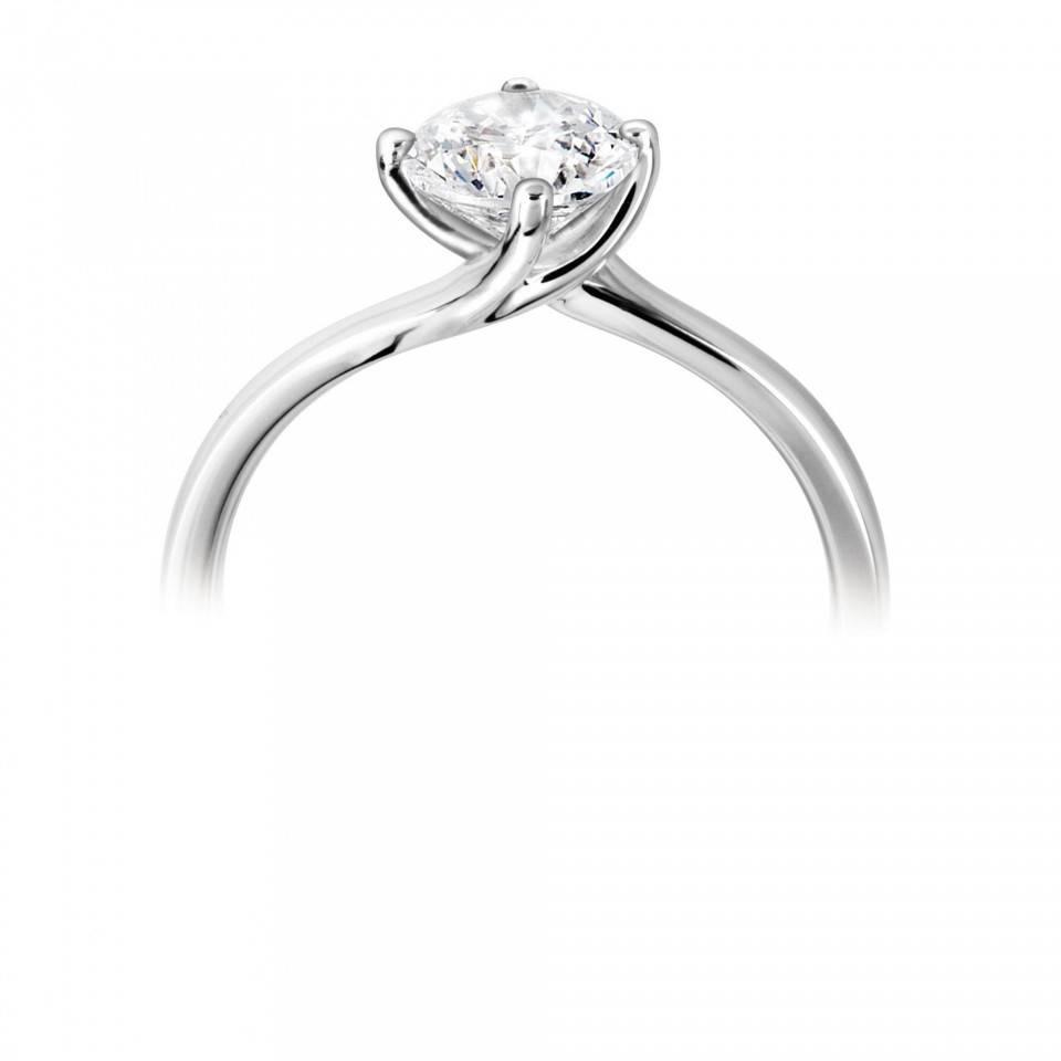Private Label CvdK Een platina (950) ring met een briljant 0,40 ct. VVSI