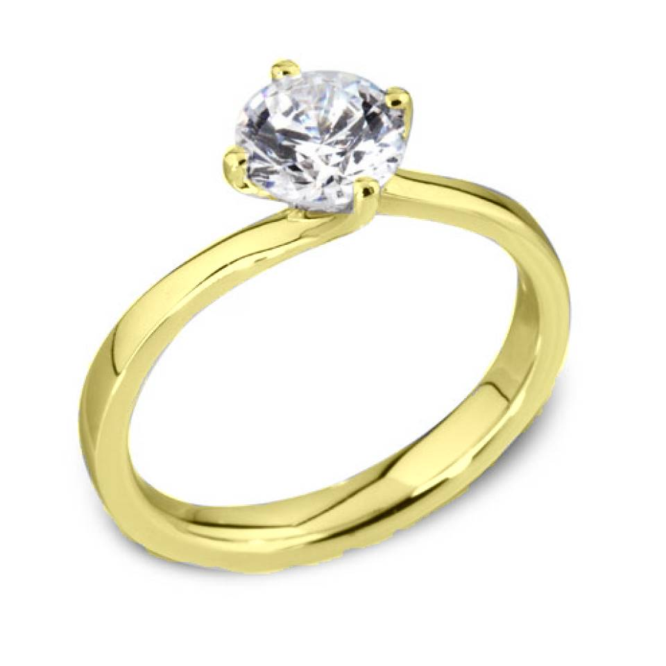 Private Label CvdK Een 18 krt. geelgouden ring 4-poots chaton met slag, gezet met een briljant van 0,32 ct. VSI/TopWesselton(G)
