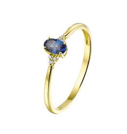 Private Label CvdK Een 14 kt. geelgouden ring met blauwe saffier en diamant