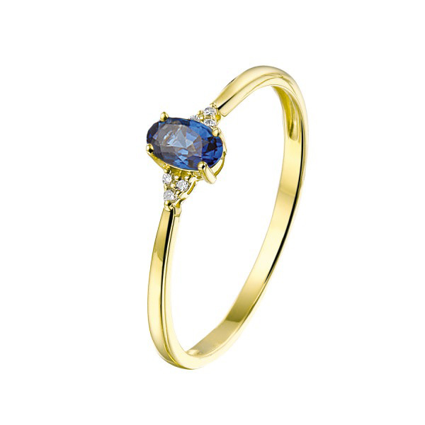 Private Label CvdK Private Label CvdK 14 kt. geelgouden ring met blauwe saffier en diamant