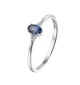 Private Label CvdK Een 14 kt. witgouden ring met blauwe saffier en diamant