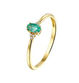 Private Label CvdK Een 14kt. geelgouden ring met smaragd en diamant