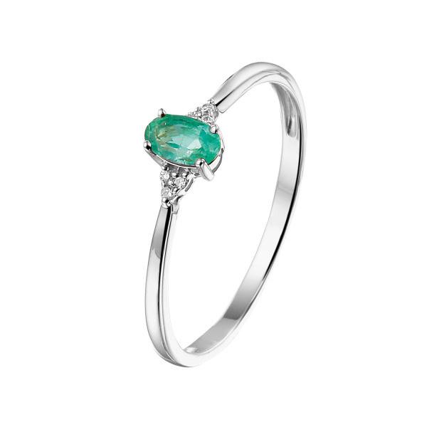 Private Label CvdK Private Label Cvd 14kt. witgouden ring met smaragd en diamant
