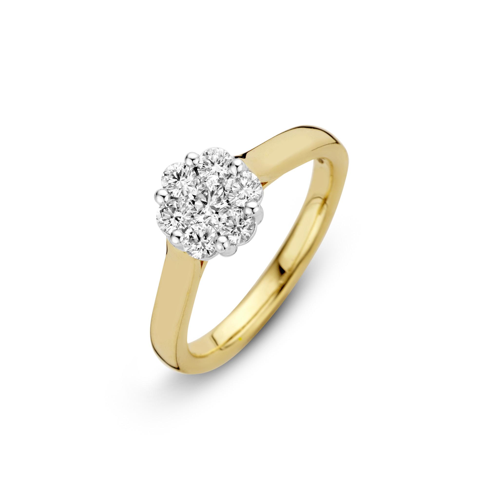 H.O.T. Een 14 krt. geelgouden rozet ring met 7 briljanten samen 0,53ct. H/SI.