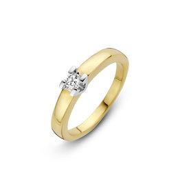 H.O.T. Een 14 krt. geelgouden solitair ring met 1 briljant van 0,14ct.