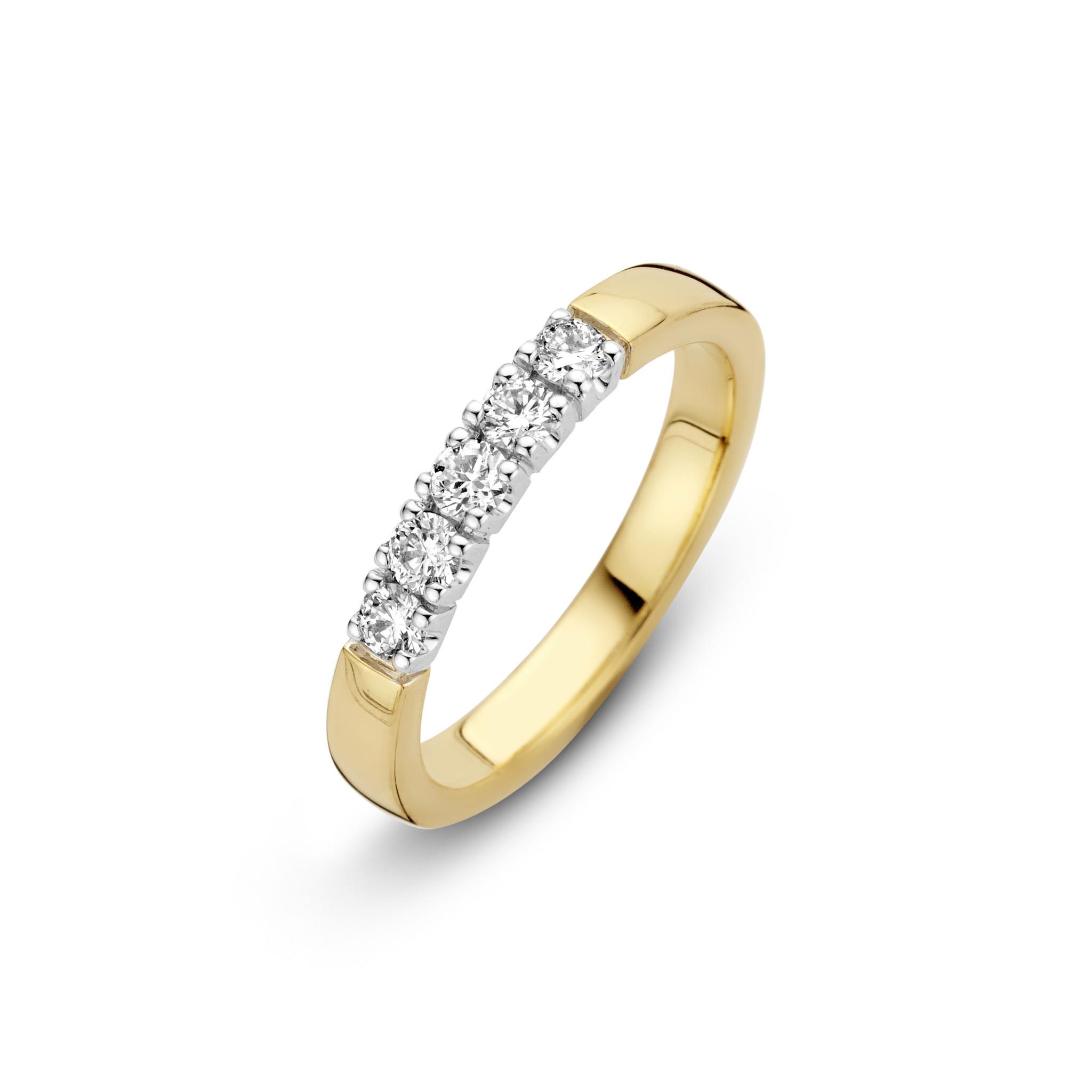 H.O.T. Een 14 krt. geelgouden memoire-ring met 5 briljanten van 0,07 ct.  totaal 0,35 ct.  Wesselton/SI.