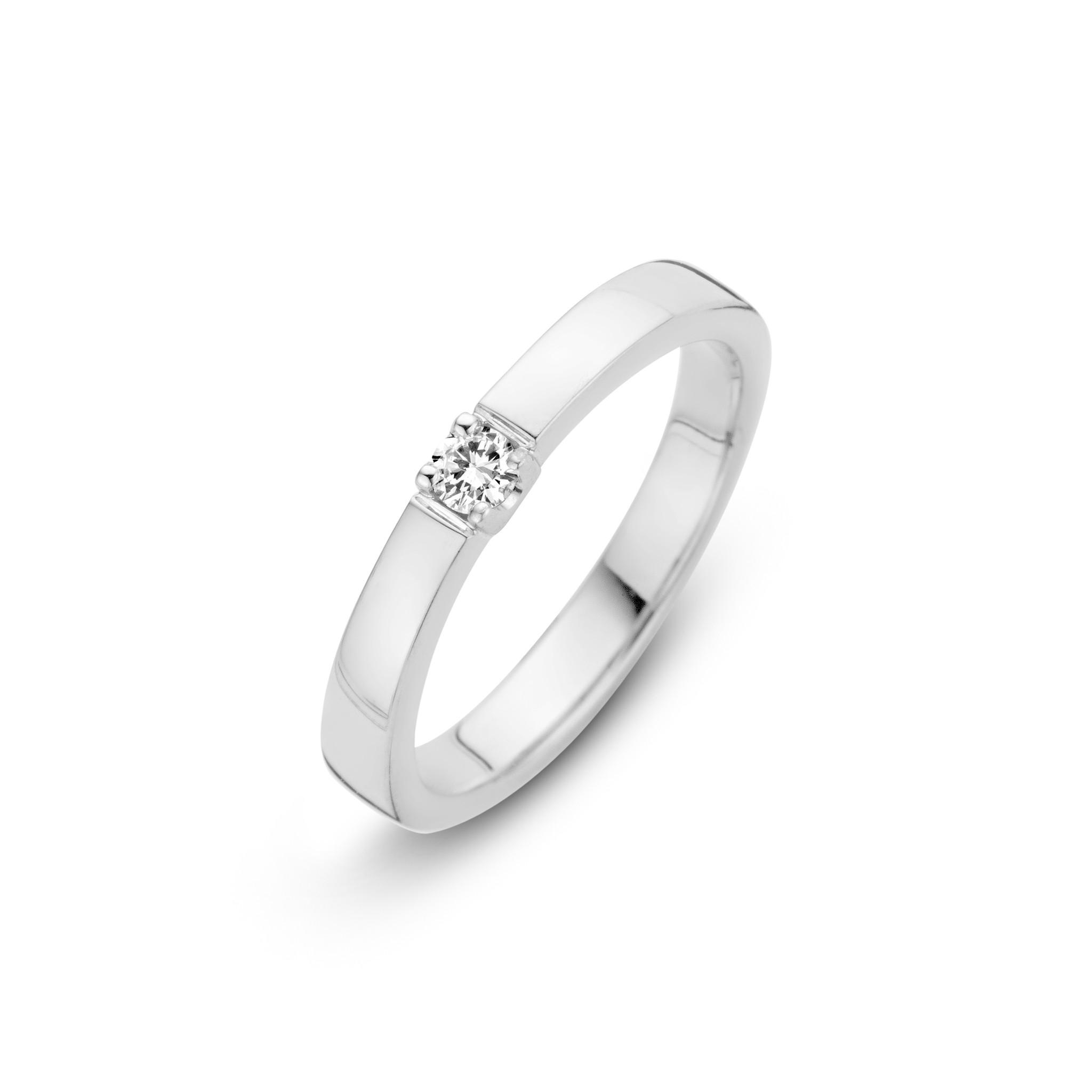 H.O.T. Een 14 krt. witgouden memoire-ring met een briljant van 0,09 ct, Si/Wesselton