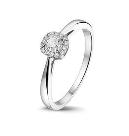 Private Label CvdK Een 14 kt. Witgouden entourage ring met cushion diamant