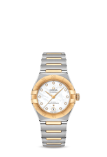 Omega Omega Constellation Manhattan Co-Axial Master Chronometer 29 mm goud/stalen kast en band - parelmoer wijzerplaat - diamant