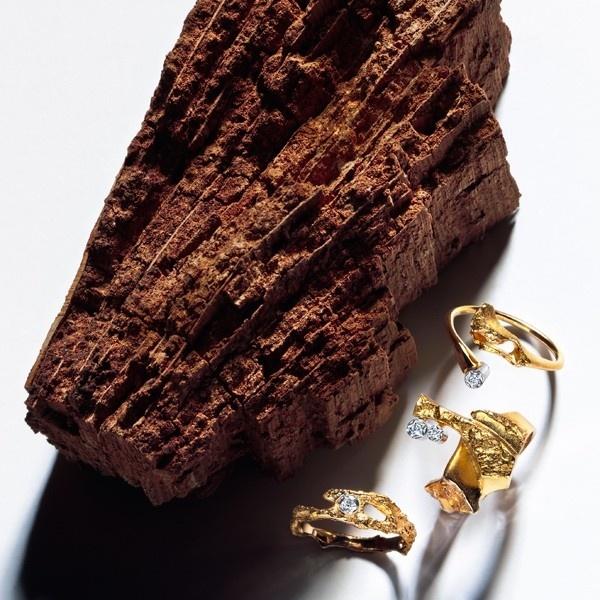 Lapponia Lapponia Diamond Twig Ring 14kt. geelgoud met platina en diamanten