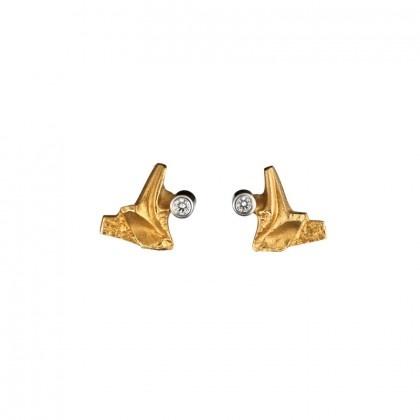 Lapponia Lapponia Volare 14kt geelgouden oorstekers met diamant