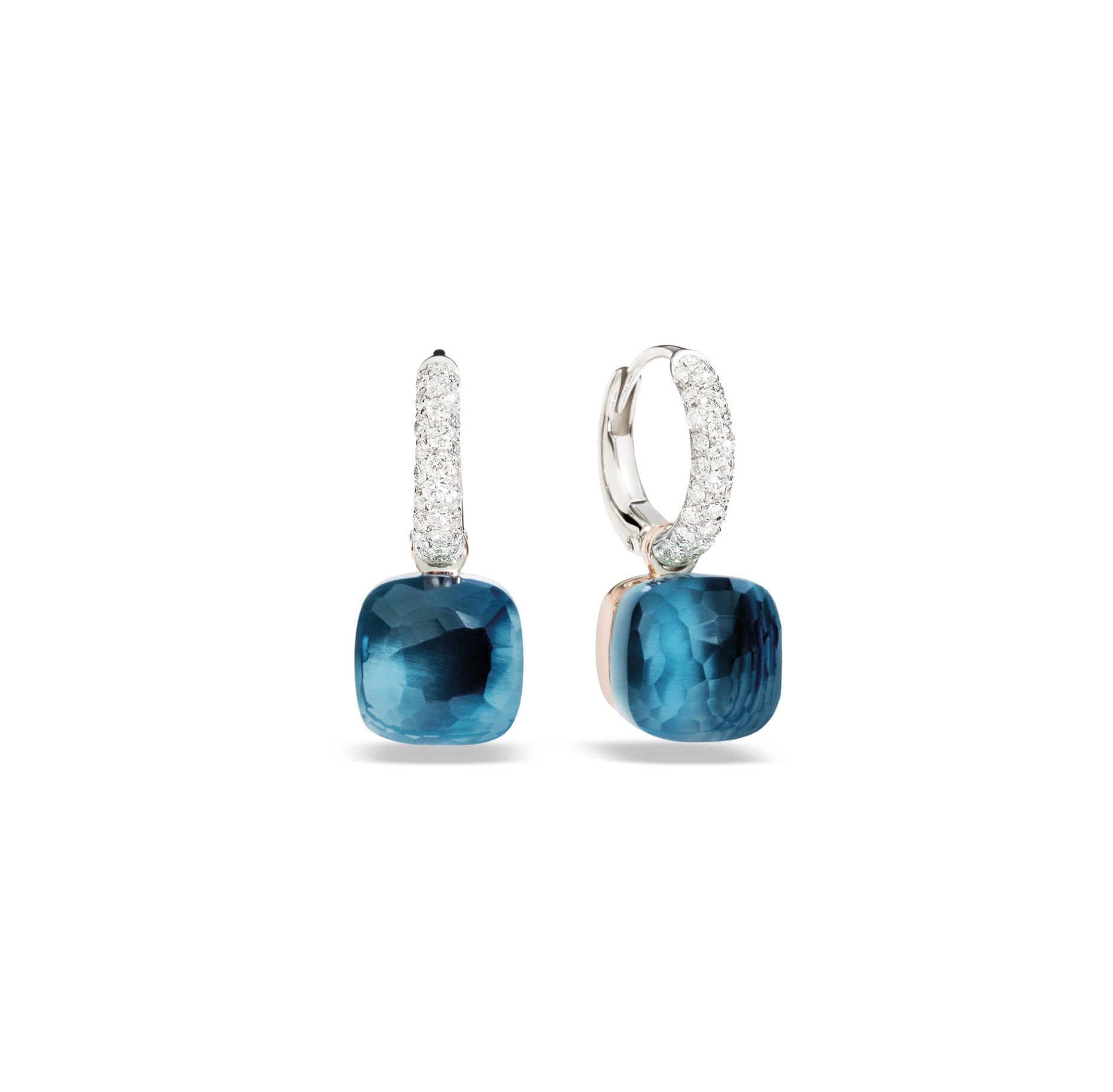 Pomellato Pomellato Nudo Classic oorhangers in 18 krt. witgoud met London blue topaas en witte diamanten