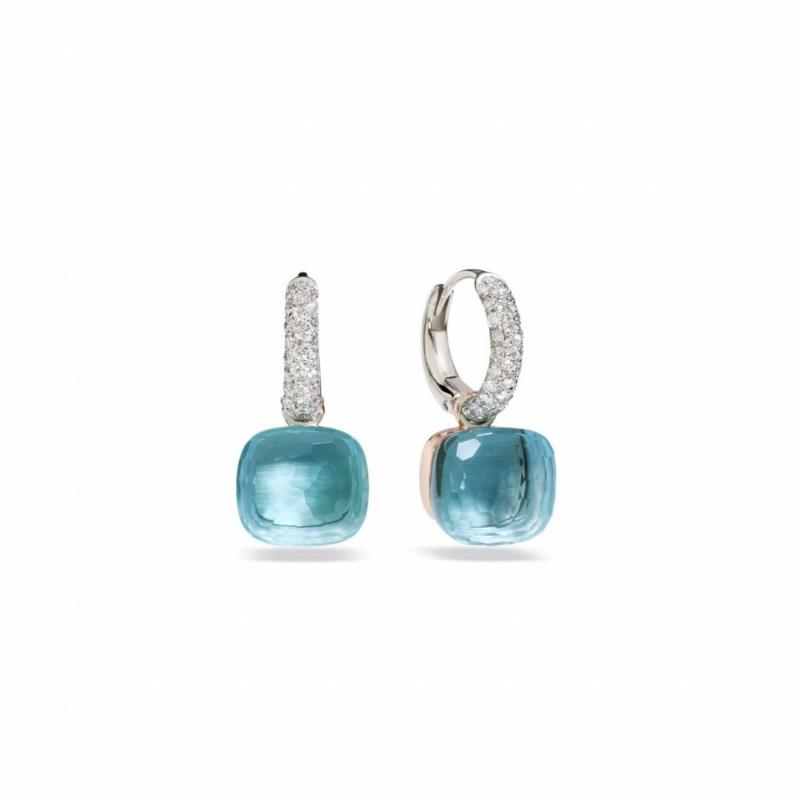 Pomellato Pomellato Nudo Classique oorhangers 18 kt.roségoud met blauwe topaas en diamant