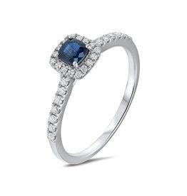 Private Label CvdK 14kt witgouden entourage ring met blauwe saffier