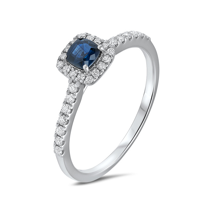 Private Label CvdK 14kt witgouden entourage ring met blauwe saffier 0,43ct en diamant 0,30ct