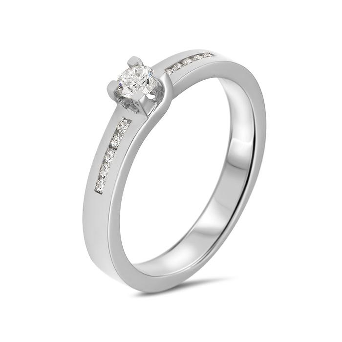 Private Label CvdK 14kt witgouden ring met middensteen en briljanten op scheen