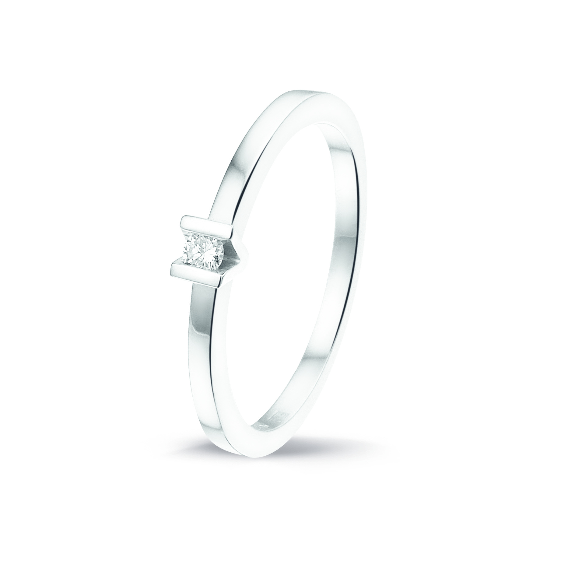 Private Label CvdK 14kt witgouden solitair ring 0,05ct