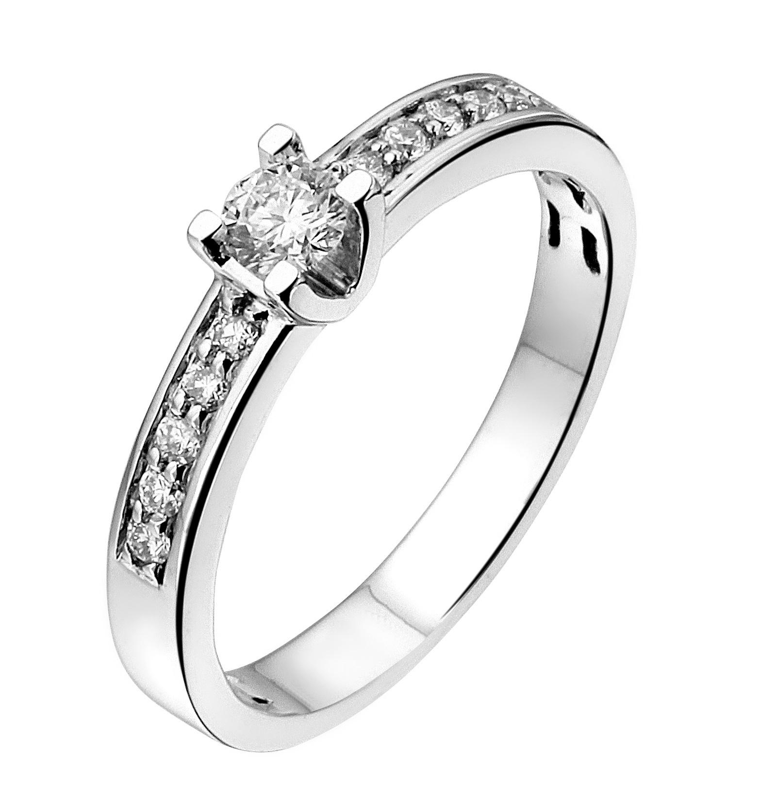 Private Label CvdK 14kt witgouden ring met diamant middensteen en diamanten op scheen
