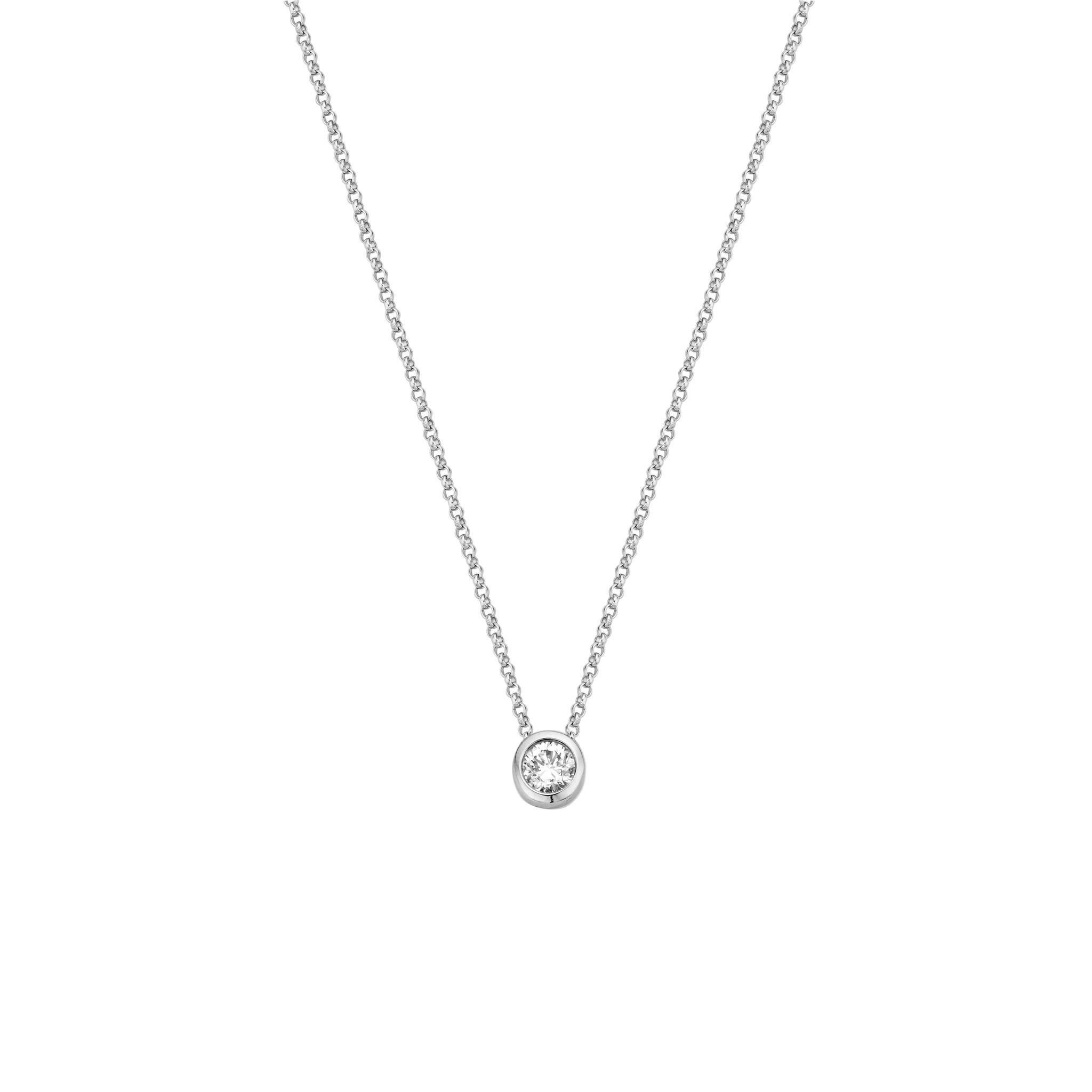 Private Label CvdK 14 kt witgouden collier met diamant hanger