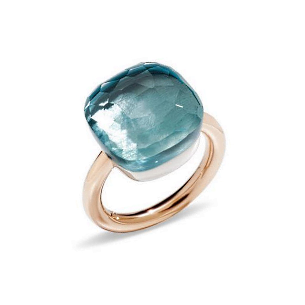 Pomellato Pomellato 18 kt. roségouden Nudo Assoluto ring met blauwe topaas