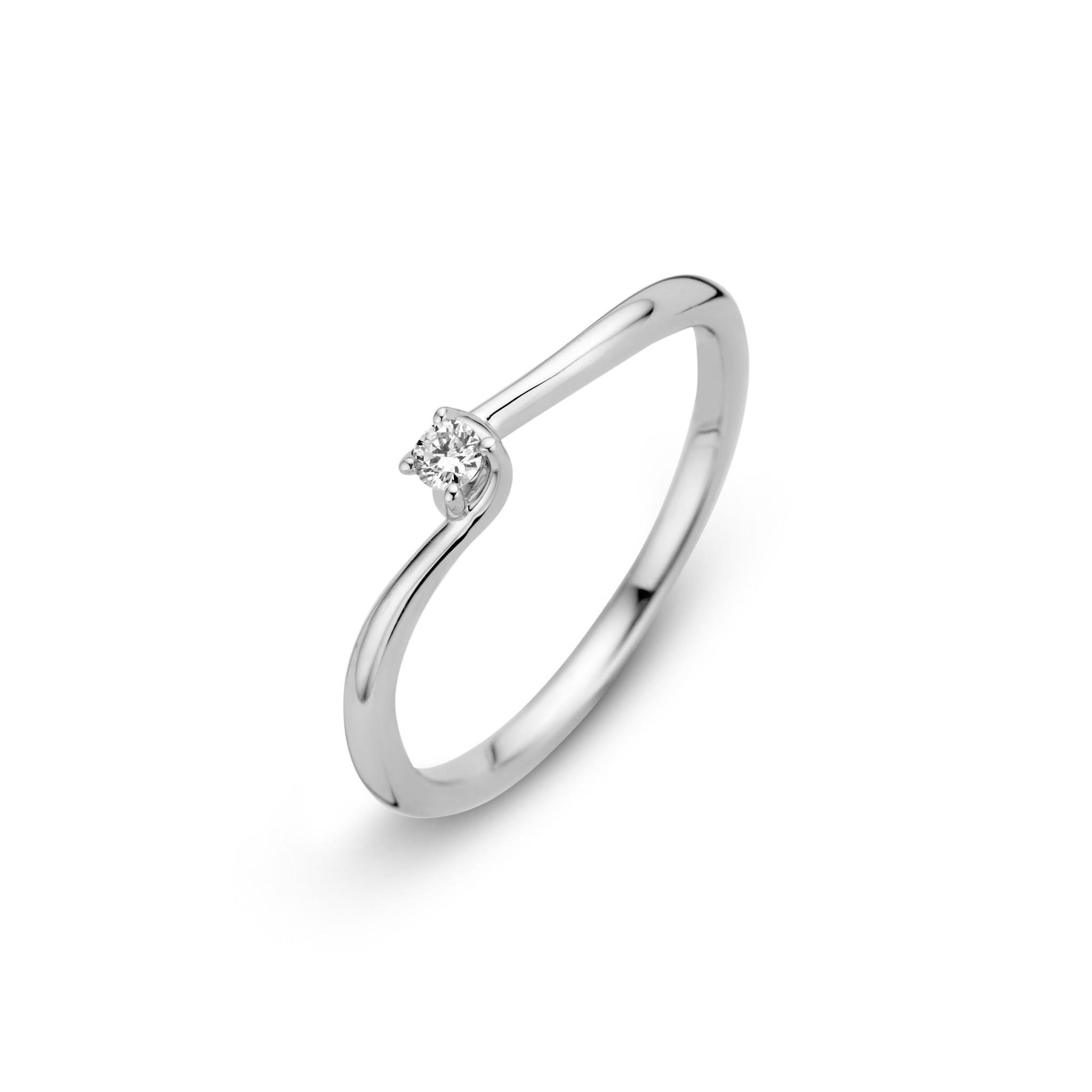Private Label CvdK 14kt witgouden ring met briljant 0,05ct.