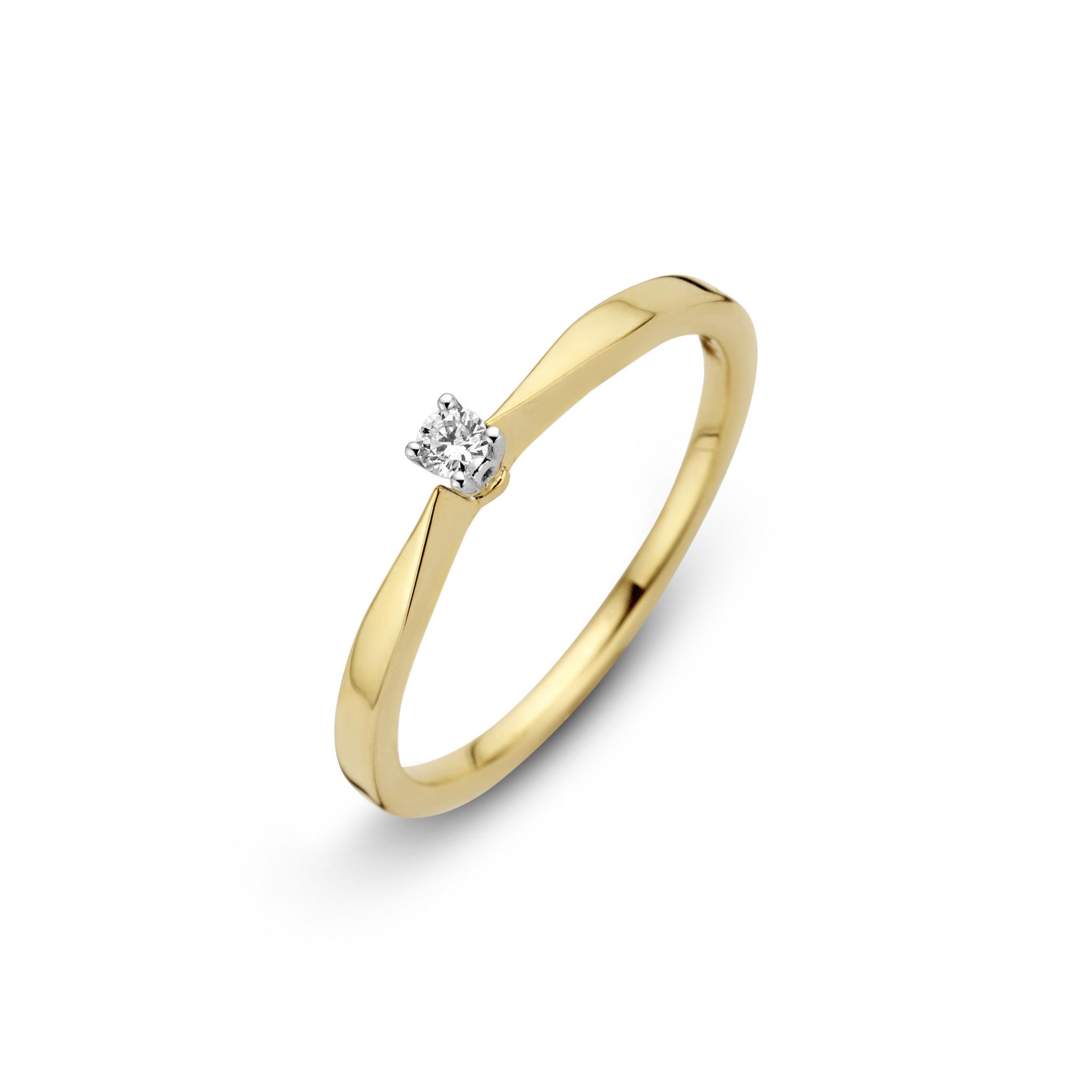 Private Label CvdK 14kt geelgouden ring met briljant, 0,05ct