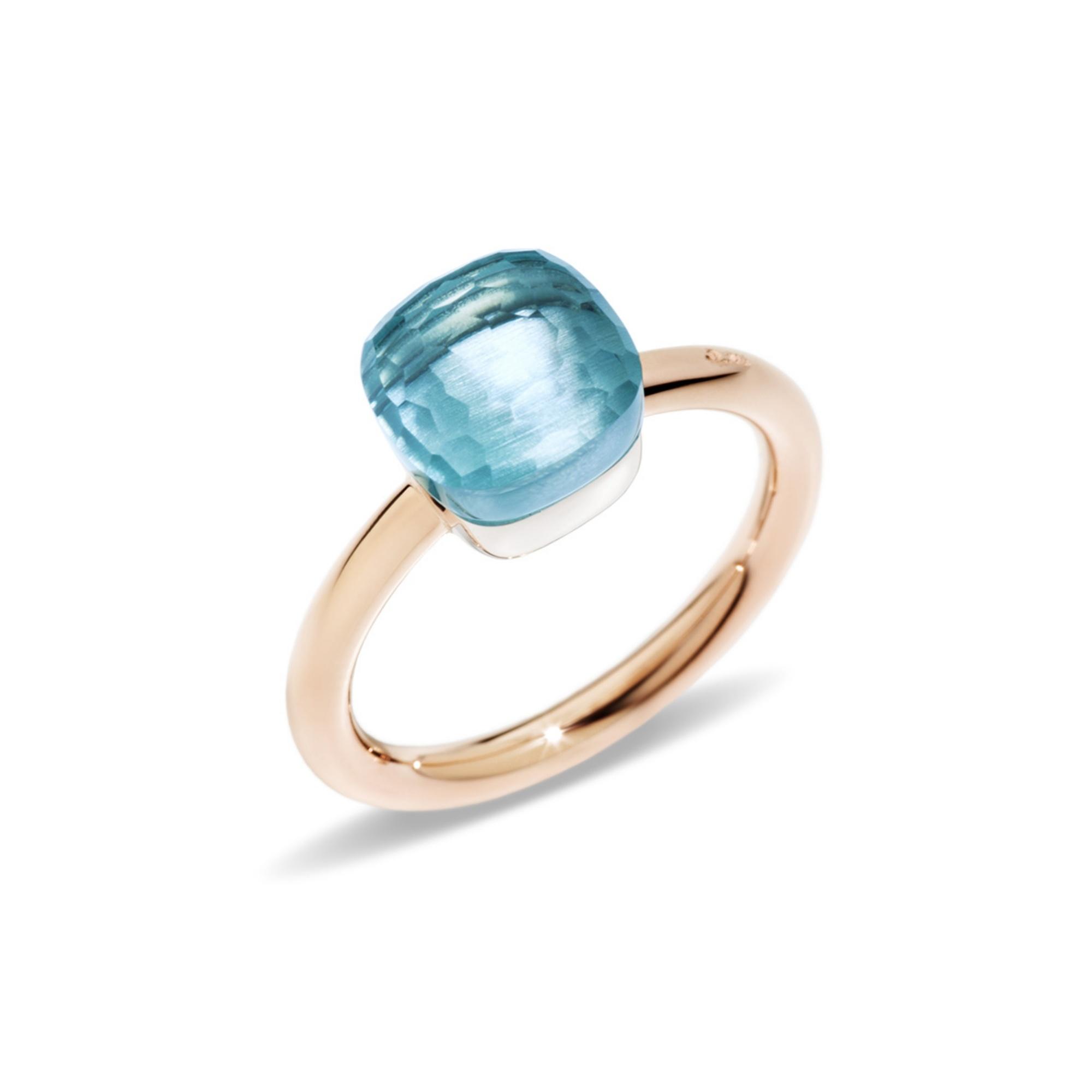 Pomellato Pomellato 18 kt. roségouden Nudo Petit ring met blauwe topaas