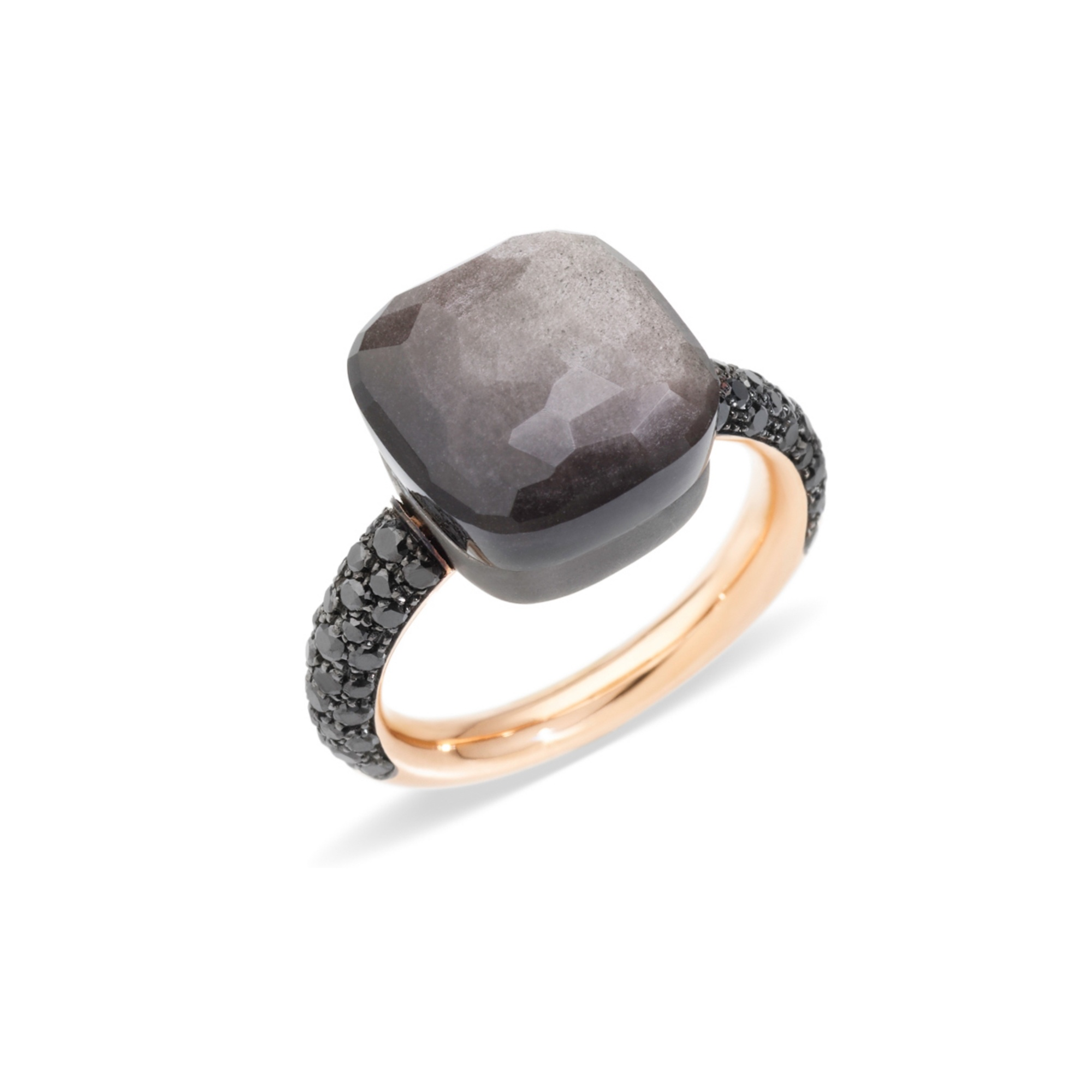 Pomellato Pomellato Nudo Maxi ring Obsidiaan met zwarte diamant gezet in titanium