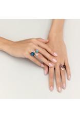 Pomellato Pomellato 18 kt. witgouden Nudo Maxi ring met London topaas en diamant