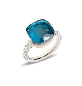 Pomellato Nudo Maxi ring met London topaas en diamanten