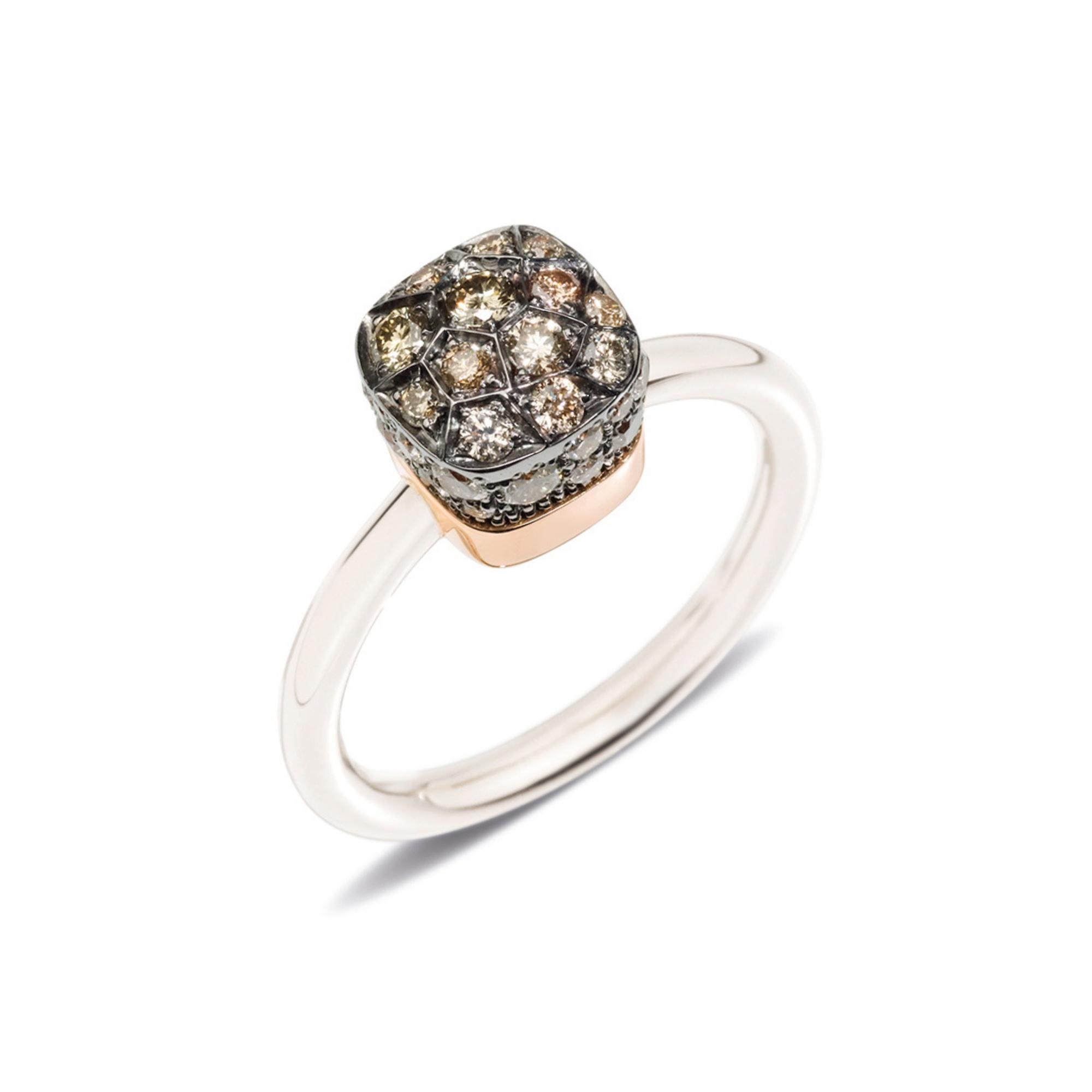 Pomellato Pomellato 18 kt. witgouden Nudo Petit ring met cognac diamant