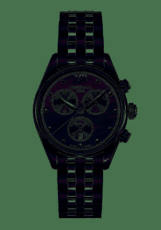 Certina Certina DS-8 Lady Chronograph, 34.5mm edelstalen kast en band met witte parelmoer wijzerplaat