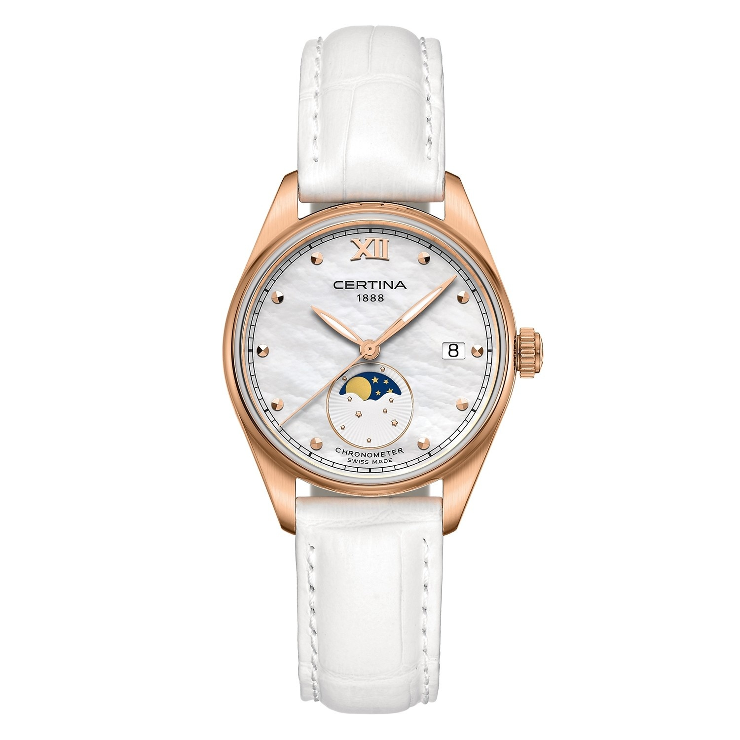 Certina Certina DS-8 Lady Moon Phase, 32,5mm rosé kleurige wijzer met wit leren band