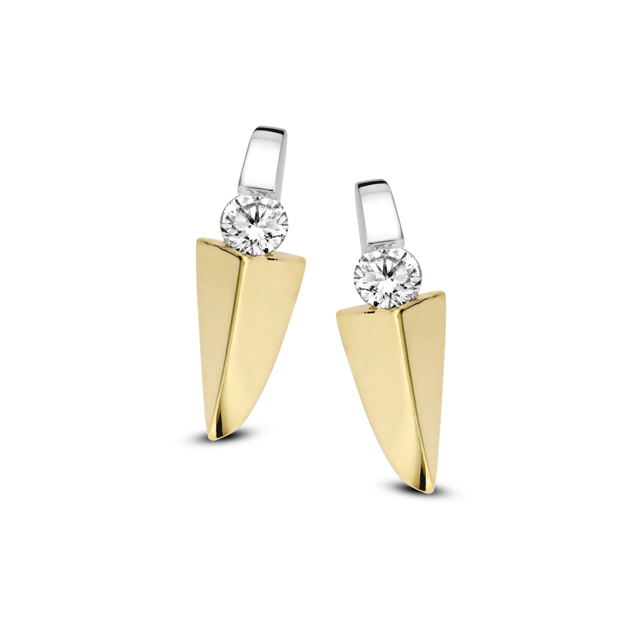 Private Label CvdK 14 krt.  gouden oorknoppen bicolor met diamant, briljant geslepen, totaal 0.18 ct.  G/VVSI